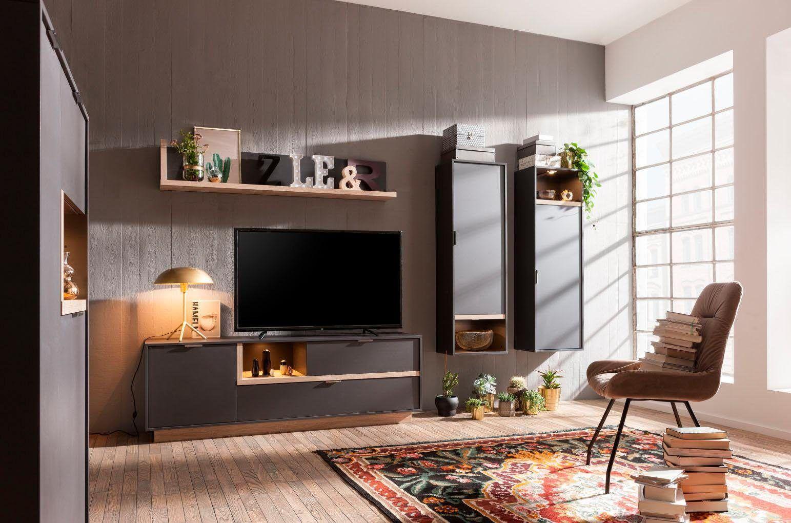 Wohnzimmer schwarz ~ Cs schmal wohnwand »my ell« schwarz fsc® zertifiziert jetzt