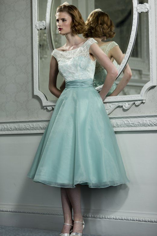 Off The Shoulder Lace Pattern Top A Line Teal Green Tea Length Organza Bridesmaid Dress