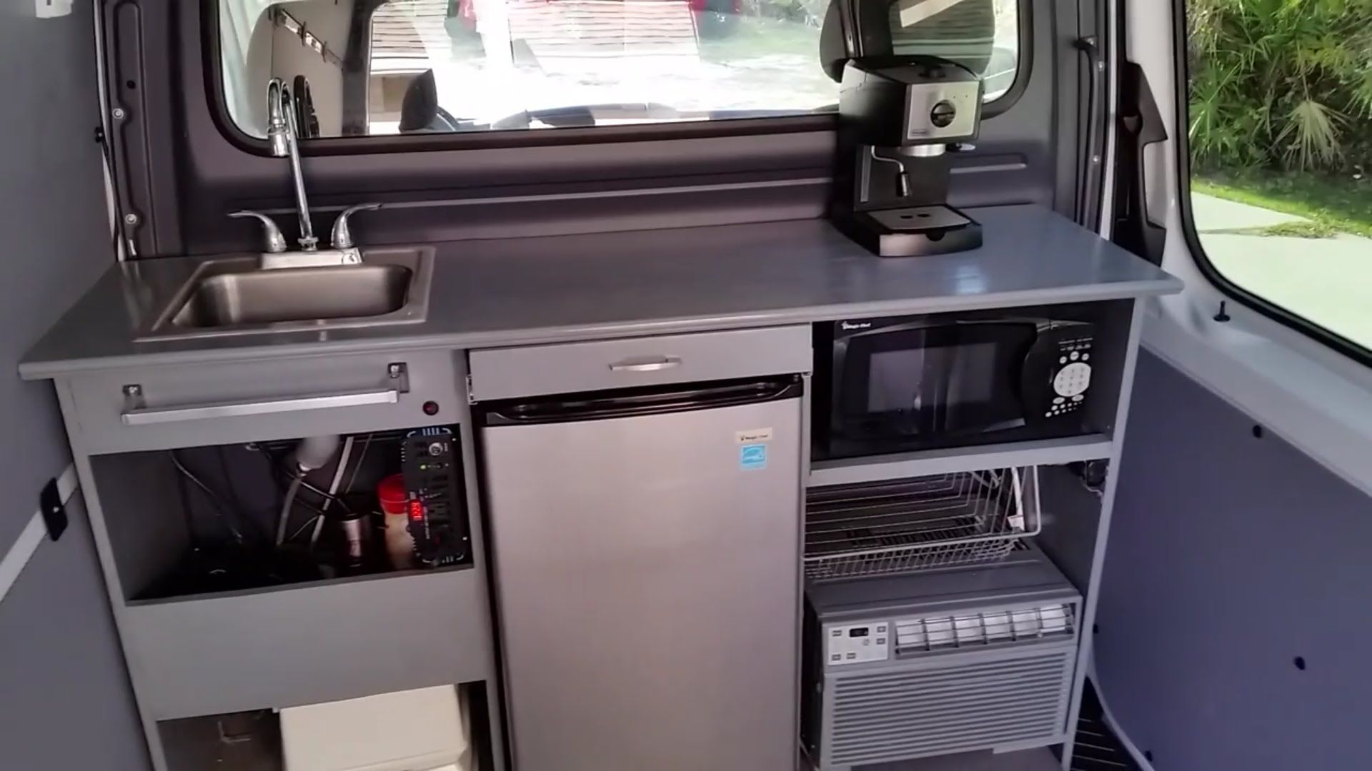Mercedes sprinter work van kitchen custom conversion rv diy