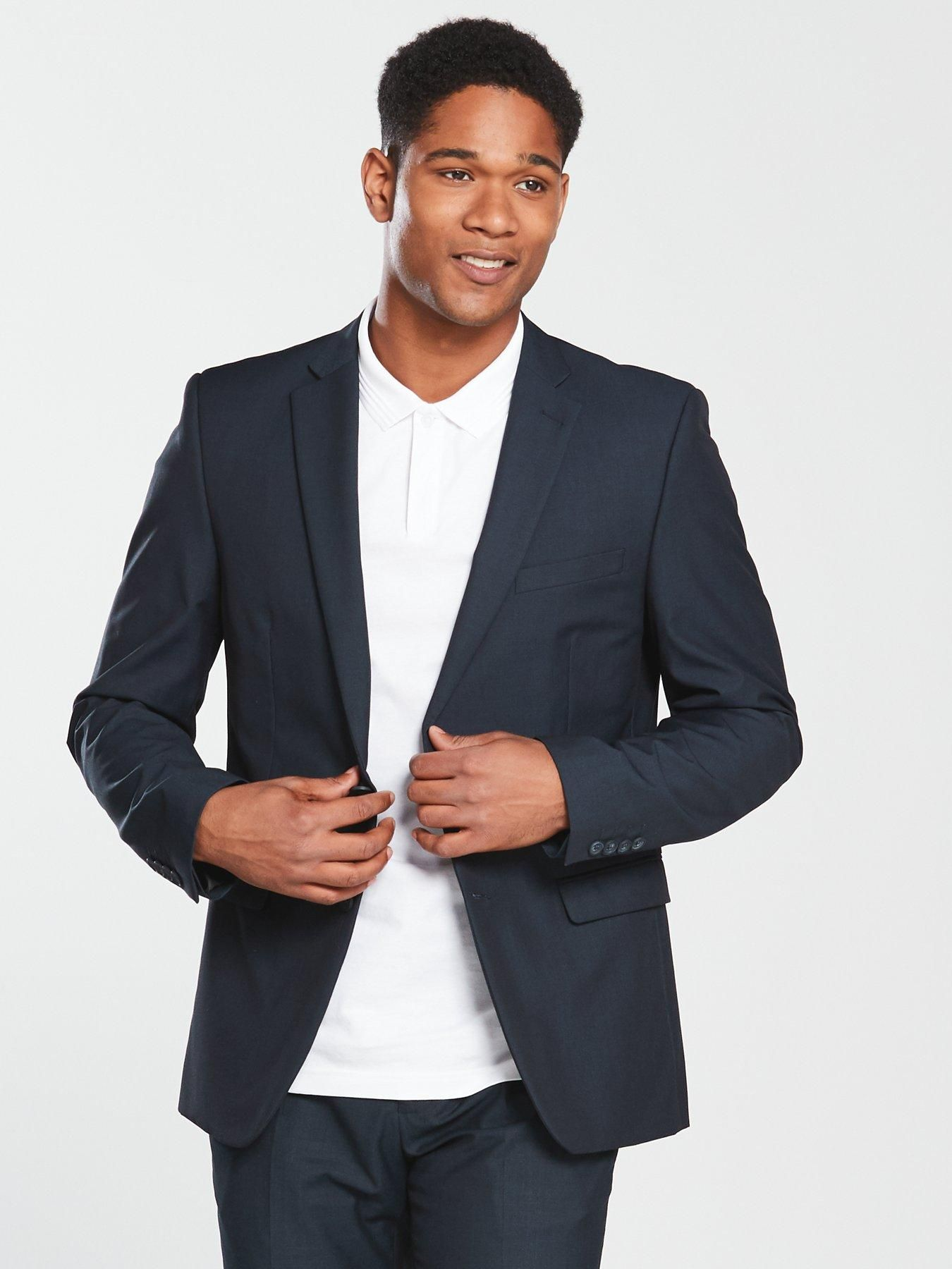 V By Very Slim Suit Jacket Navy, Navy, Size Chest 42