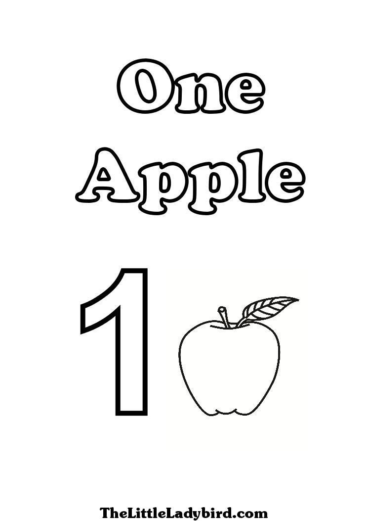 number one coloring pages of one apple - One Coloring Page