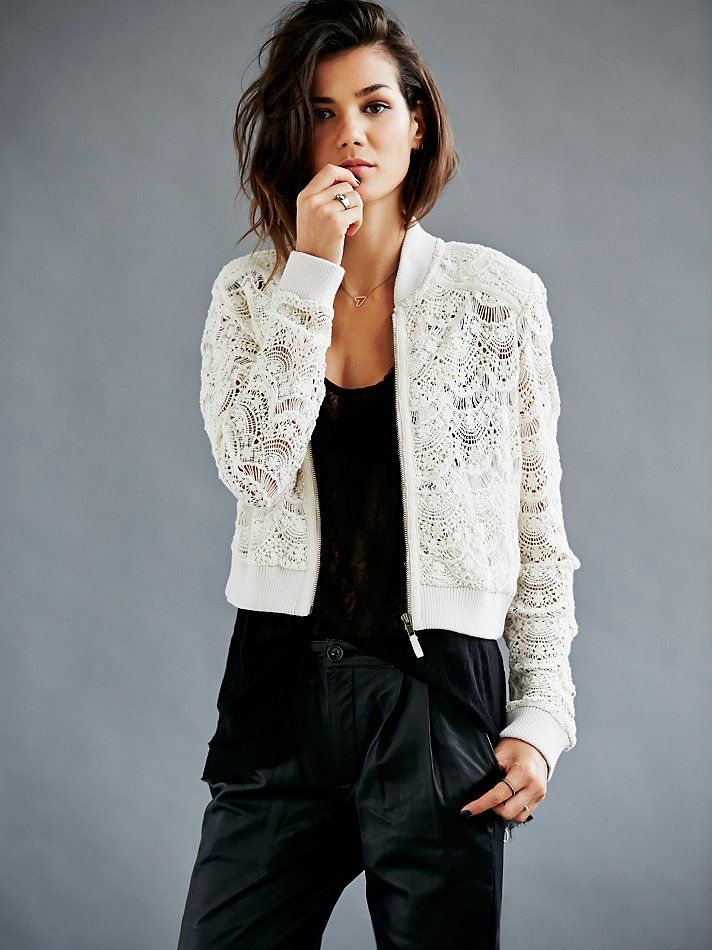 44d6c620ab0 Free People Lace Bomber Jacket at Free People Clothing Boutique