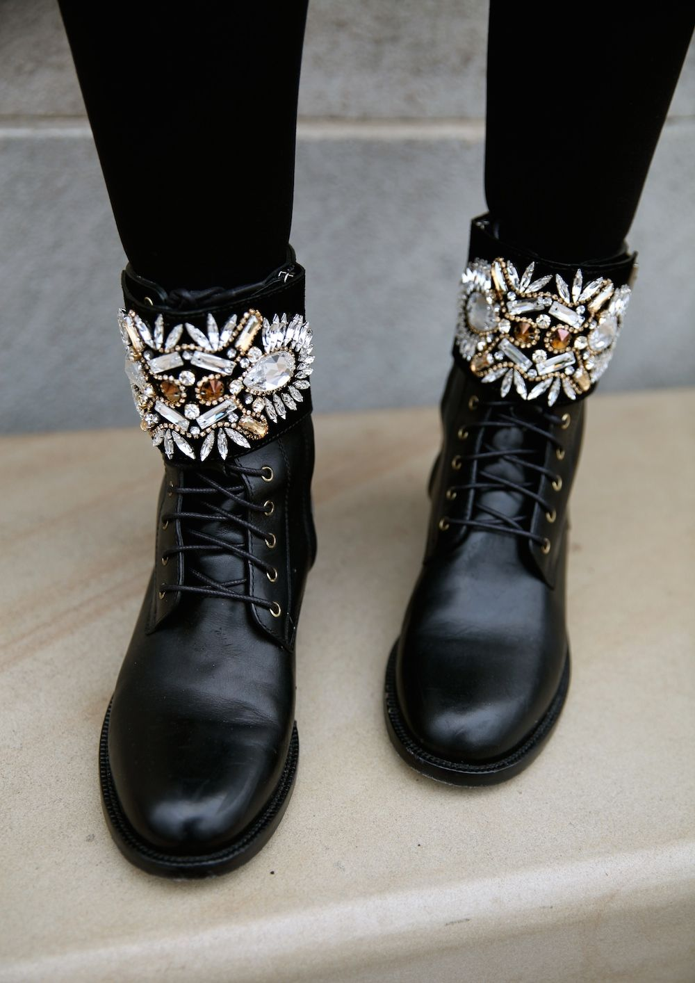 Crystal combat boots by Rene Caovilla. Leather ...