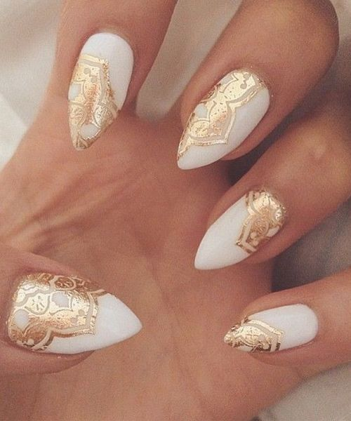 Golden Lace Cute White Nail Art Designs - Golden Lace Cute White Nail Art Designs Nails Pinterest White