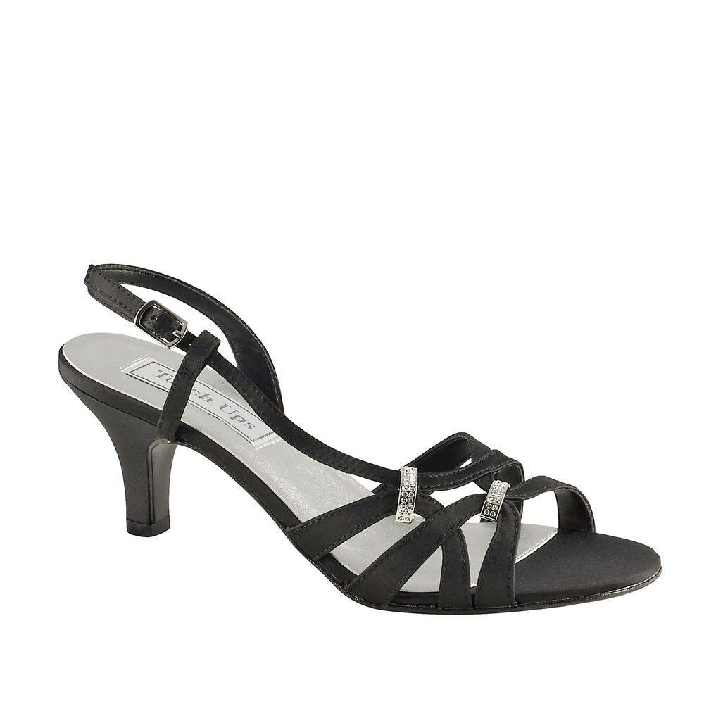 Donetta Black Satin Low Heel Wide Width Bridal Wedding Shoes W5a1 Wide Width Sandals Silver Sandals Low Heel Sandals