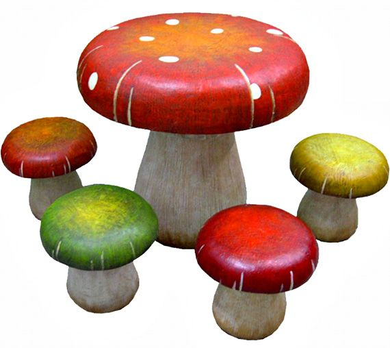 This Awesome Toadstool Table And Stool Set Table Will Find A Special Place  In Your Home