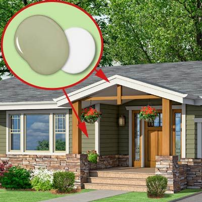 Photoshop redo craftsman makeover for a no frills ranch - Ranch house exterior paint colors ...