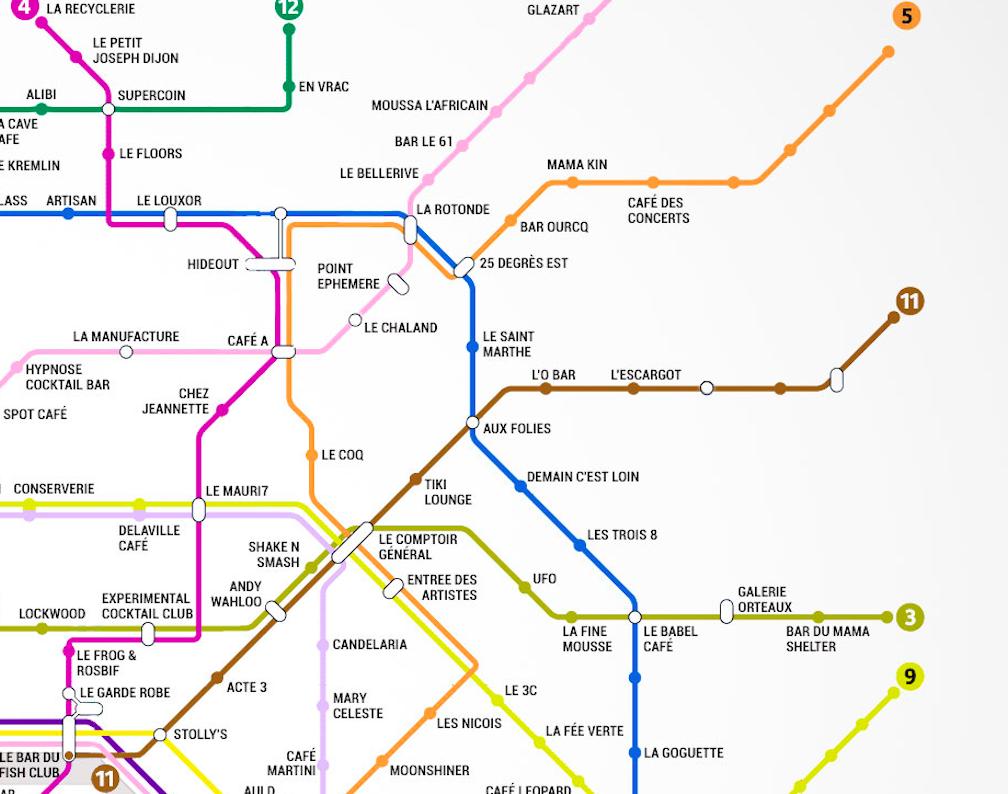 Le plan de métro des meilleurs bars de Paris
