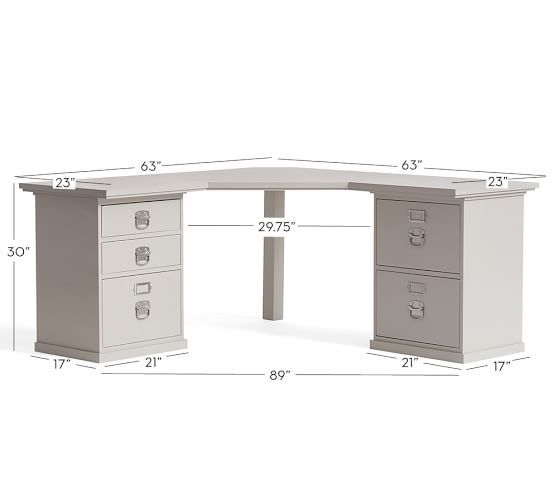 Bedford 6- Drawer Corner Desk, Antique White - Bedford 6- Drawer Corner Desk, Antique White Bedford Town F.C.