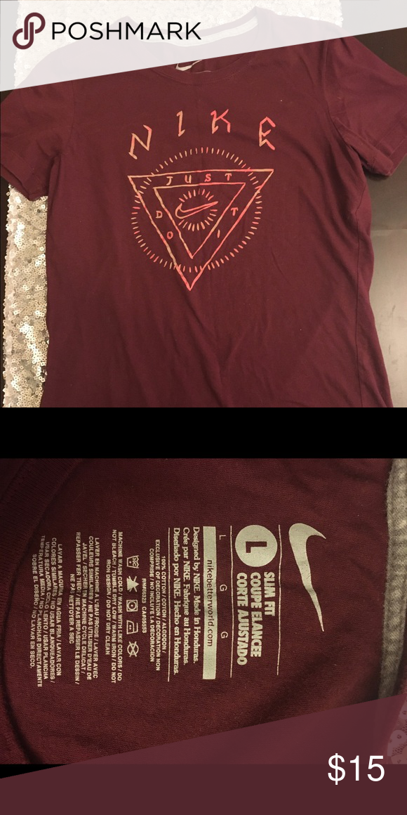 Nike Tribal Design T Shirt Burgundy Nike T Shirt With