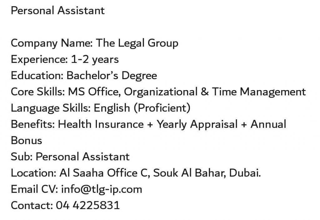 Personal Assistant Uae Job Openings Job Opening Personal
