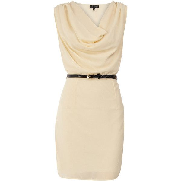 Cream belted cowl neck dress ($29) ❤ liked on Polyvore