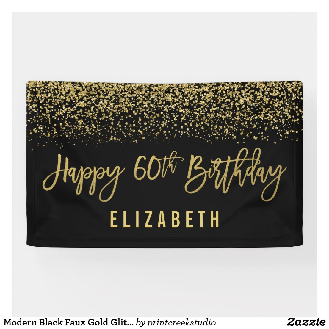 Modern Black Faux Gold Glitter 60th Birthday Banner