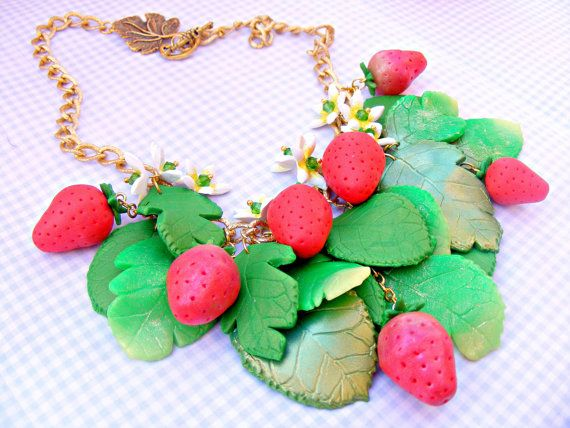 Red Strawberry Necklace Summer Necklace Polymer by Sweetystuff, £89.00