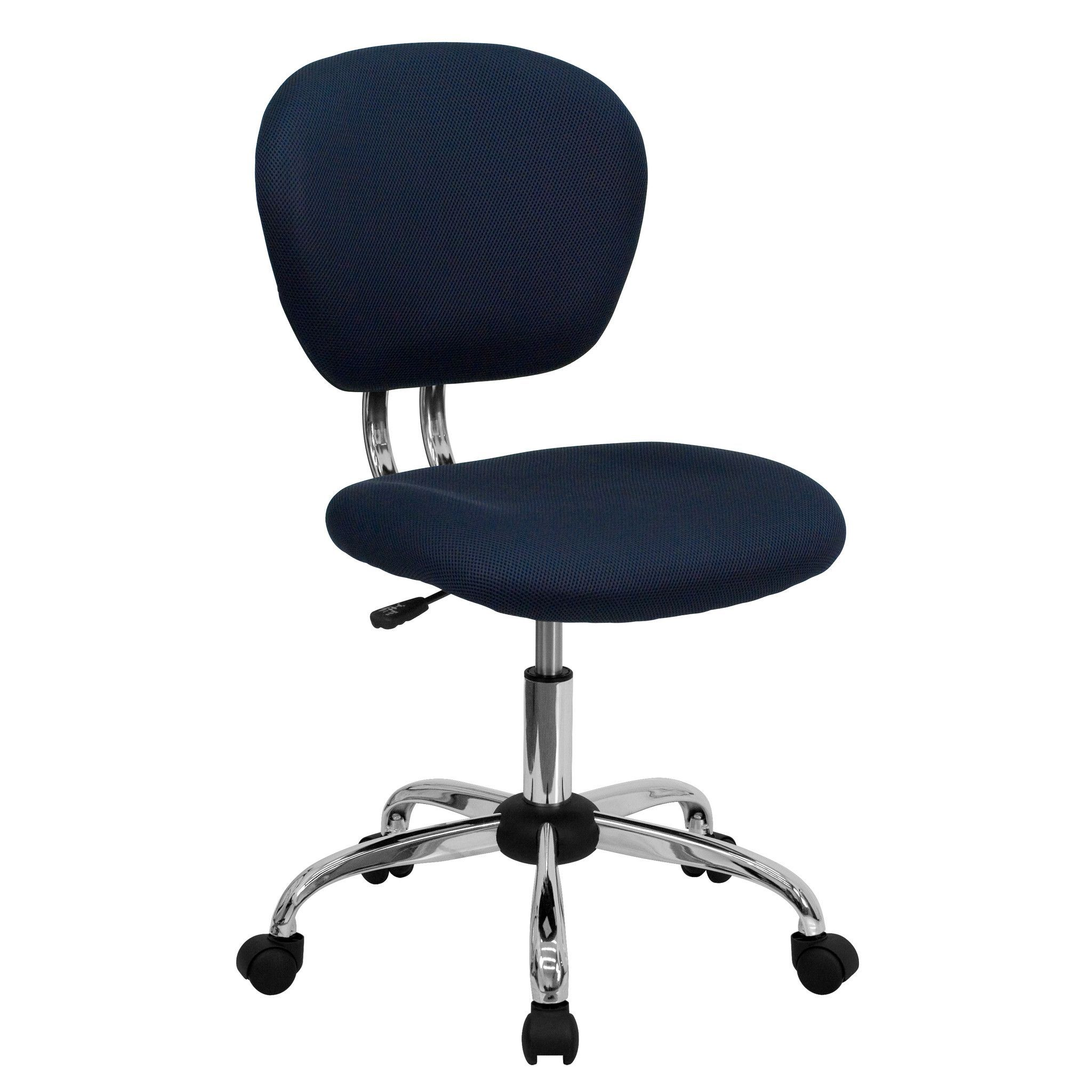Mid-Back Navy Mesh Task Chair - Chrome Base