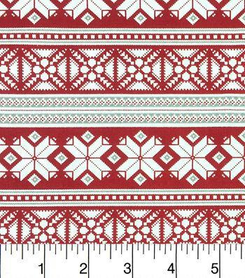 Keepsake Calico Christmas Cotton Fabric-Fair Isle Red Gray ...