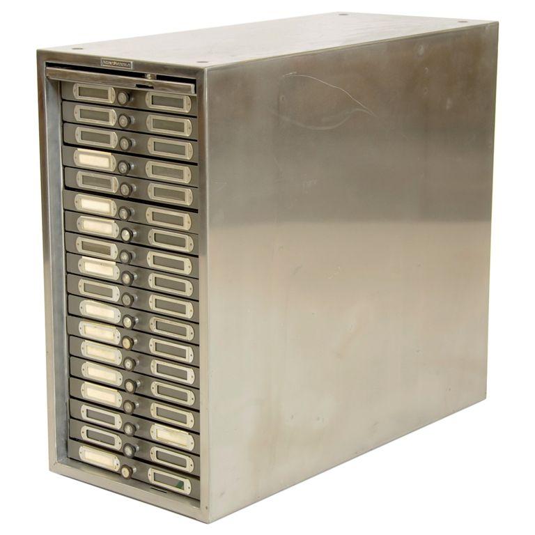 polished steel photo filing cabinet.