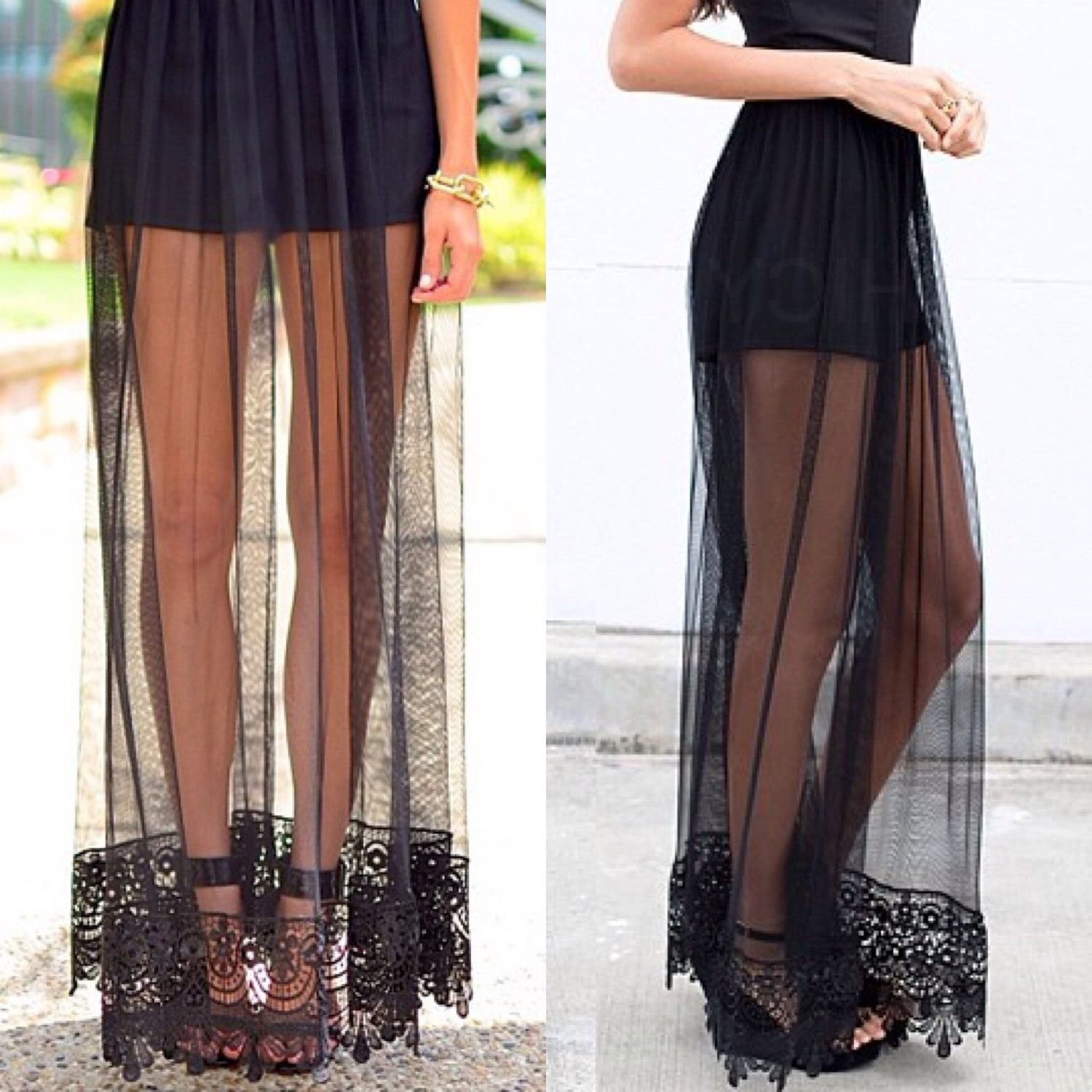Somebody sell me her legs! I'm loving the sheerness of the maxi skirt though. So cute!!!