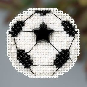 "MH183201 - Soccer Ball (2013) - Mill Hill - Seasonal Ornament - Autumn Series Kit Includes: Beads, treasures, perforated paper, magnet, floss, needles, chart and instructions. (1 of 6 designs in display Size: 2"" x 2.5"""