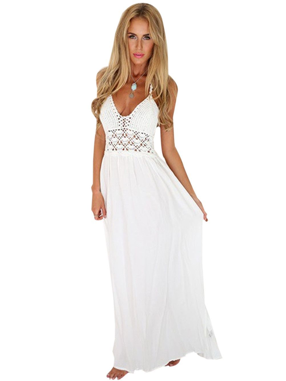 f301d8ca514 Plunge Hollow Out Sheer White Halter Crochet top Backless Long Maxi Dress  Casual