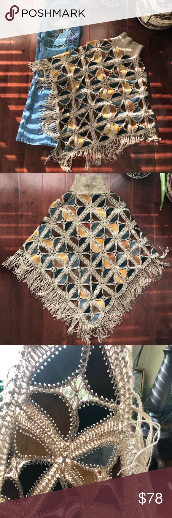 Photo of Vtg. Reversible, Faux Leather Knit Poncho Vintage- Faux leather Boho knit, rever…