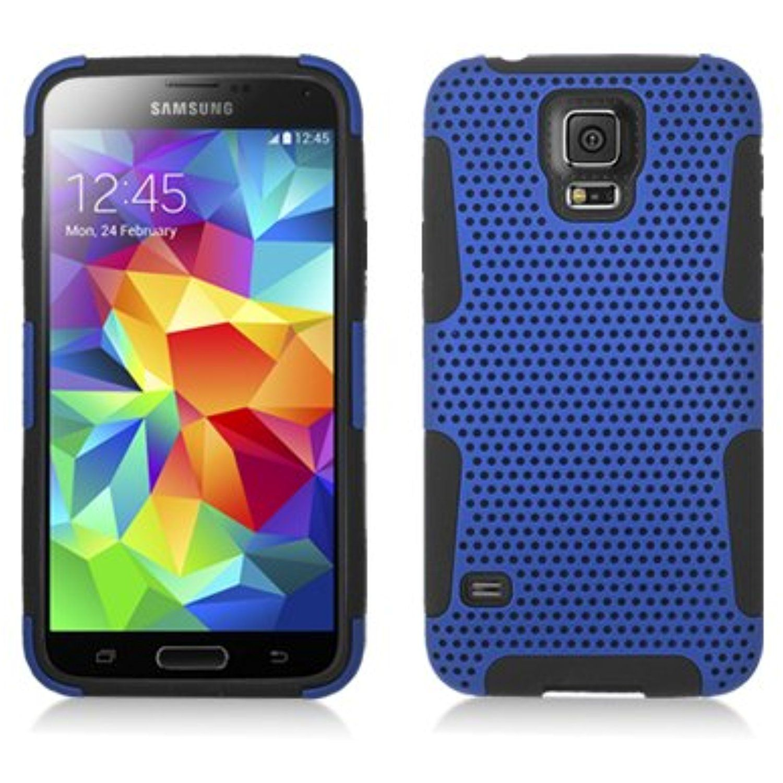 AIMO Progressive Hybrid Gummy Mesh Defense Case for Samsung Galaxy S5 Black Blue