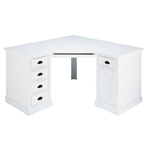 Scrivania Newport Maison Du Monde.Newport White Pine 1 Door 5 Drawer Corner Desk Angolo