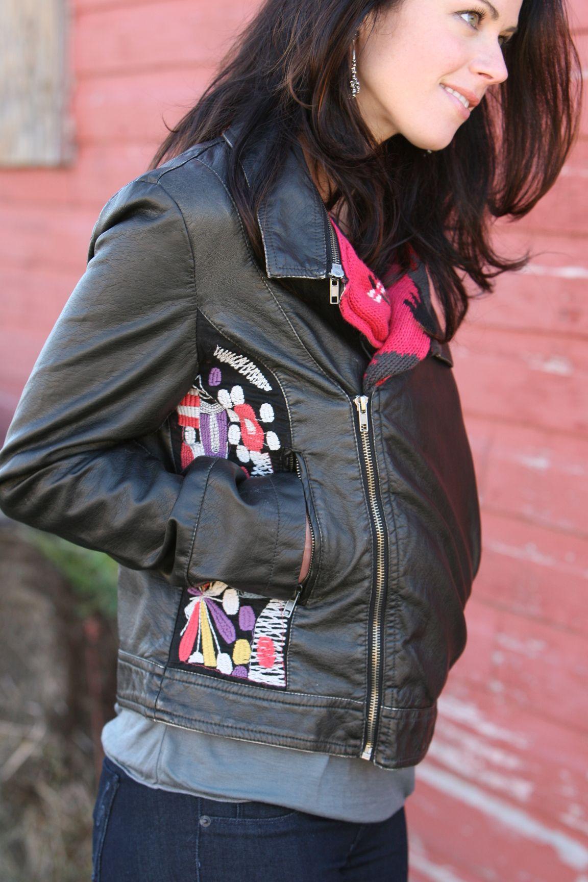Leather jacket valley girl - Embellished Leather Jacket Valleygirl Boutique