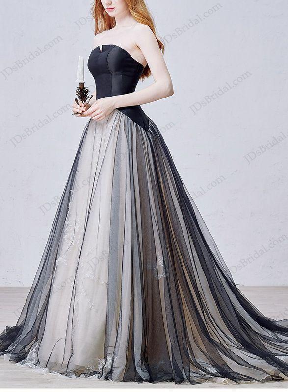 IS054 Black Non White Tulle Ball Gown Wedding