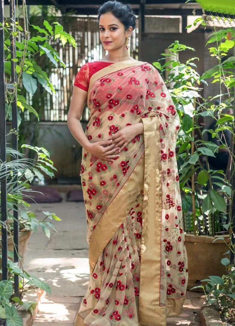 d6002f755e Mono Net Saree in White Color. Enhanced with Resam Thread Embroidery Work,  Pearl Work