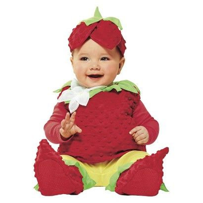 dress your little trick or treater in the sweetest strawberry infant costume it features a sleeveless textured jumper booties and a matching red and - Strawberry Halloween Costume Baby