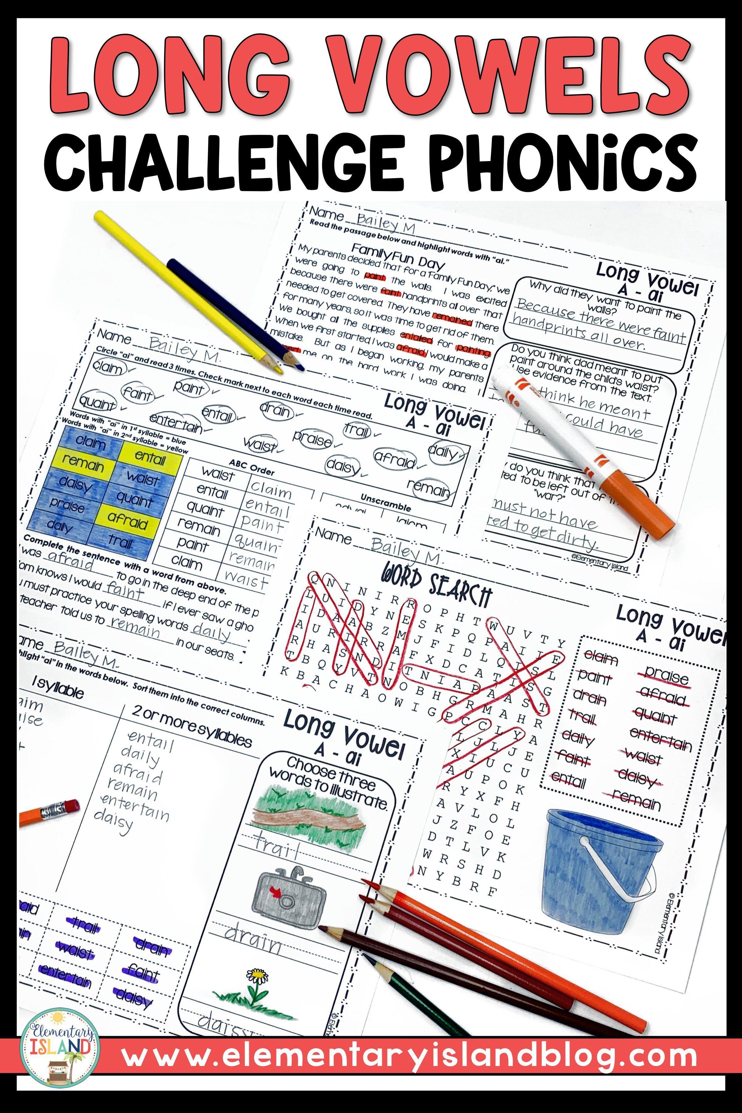 Challenge Phonics Long Vowels Worksheets   Vowel worksheets [ 3600 x 2400 Pixel ]