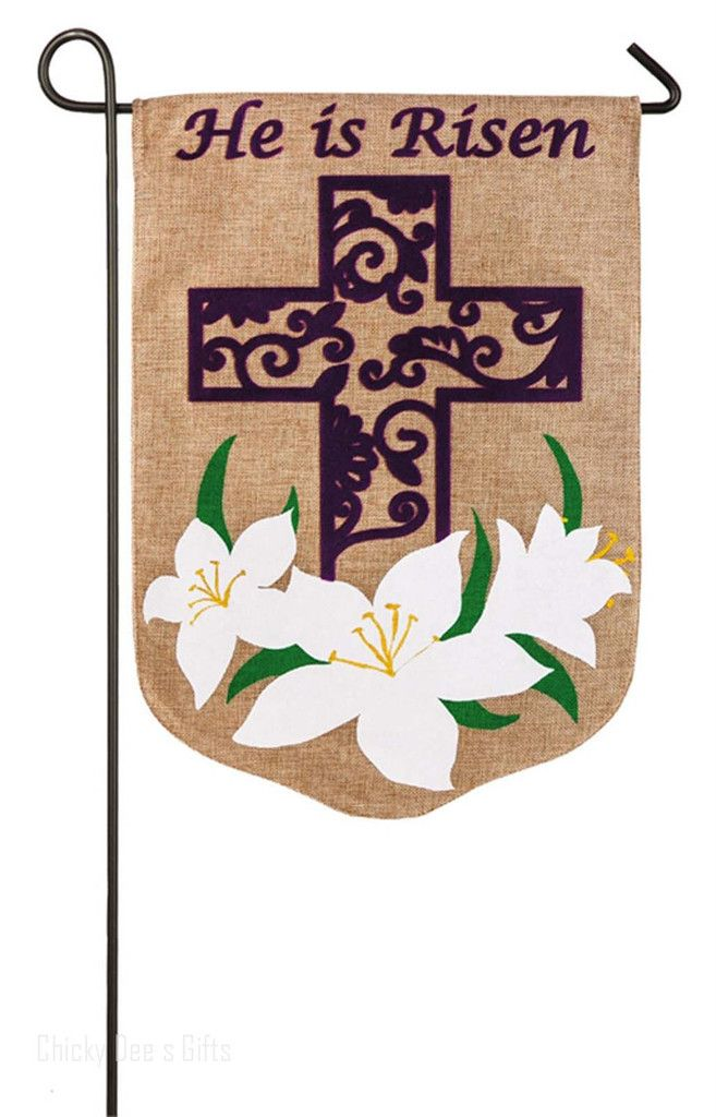 Evergreen Garden Burlap Flag EASTER LILY 125 x 18 in NEW He Is