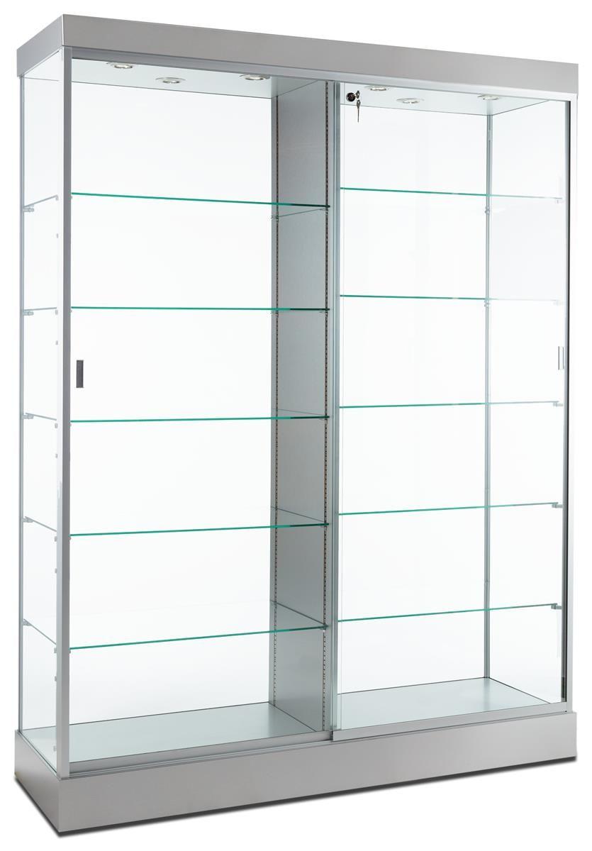 60 Glass Display Case W Top Lights Wheels Locking Sliding Door