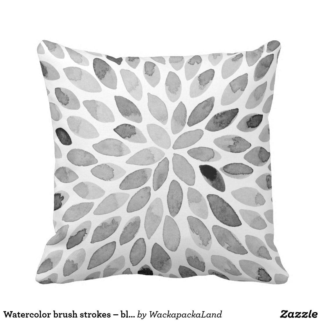 Watercolor Brush Strokes Black And White Throw Pillow Zazzle