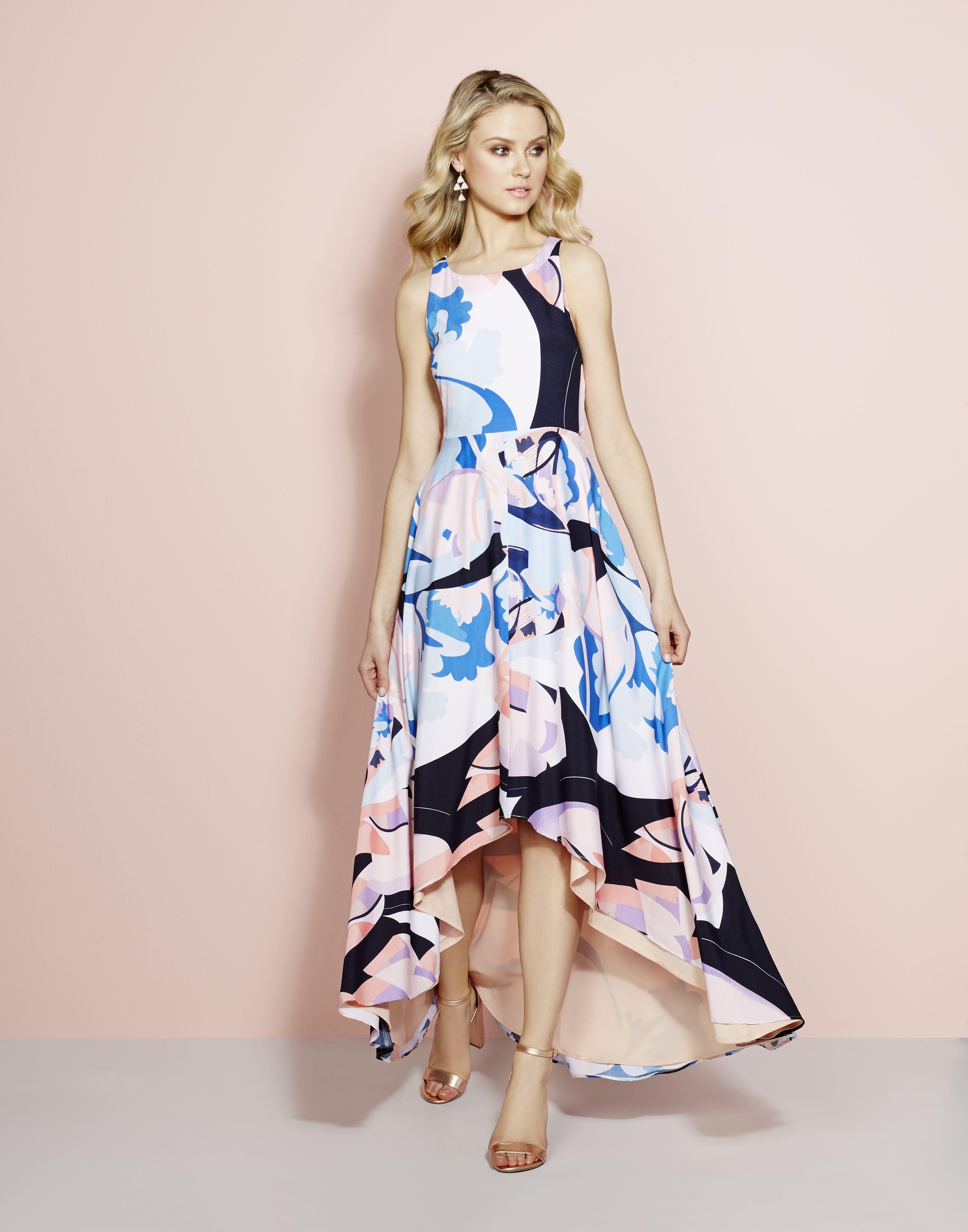 Nicole Miller New York Printed H-iLow Maxi Dress | Dressed Up ...