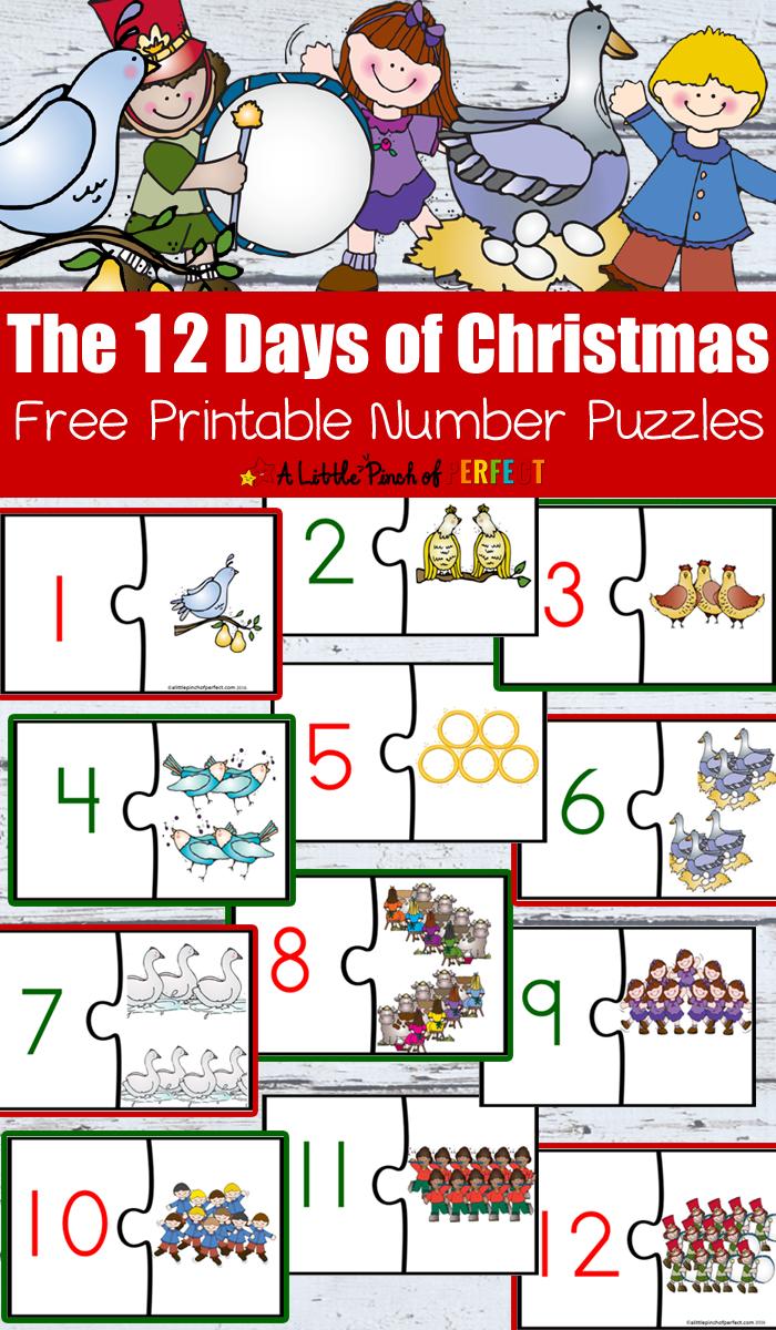 12 Days Of Christmas Free Printable Number Puzzles Preschool Christmas Activities Christmas Math Activities Christmas Preschool Printables [ 1200 x 700 Pixel ]