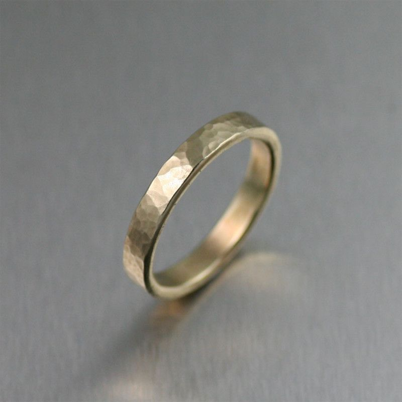 3mm Handmade Hammered 14K Gold Band Ring by San Francisco jewelry
