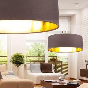 Pendel Decken Strahler Haenge Fluter Lampe Rund Textil Stoff Braun Gold Farben In 2019 Deckenlampe Stoff Lampen Und Gold Farbe