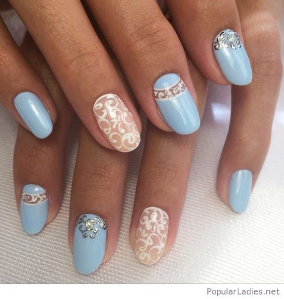 Light Blue Nails With Lace Print And More