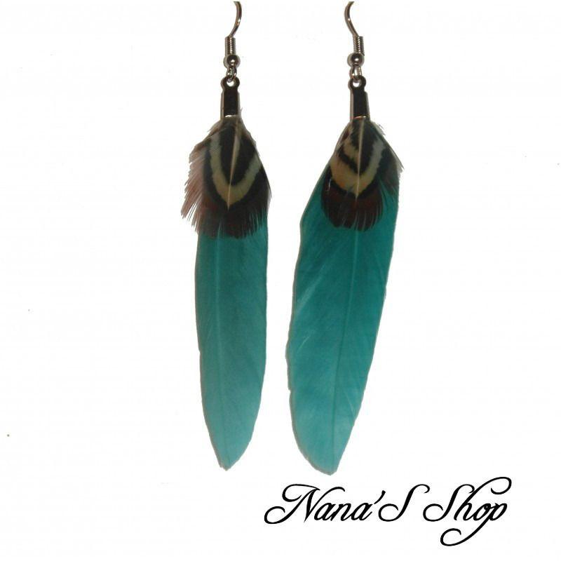 Boucle d'oreille plume bleu turquoise
