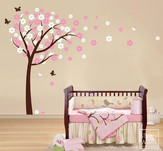Cherry Blossom Wall Decal Blooming Cherry Tree Wall Sticker Etsy Baby Girl Room Nursery Vinyl Butterfly Nursery