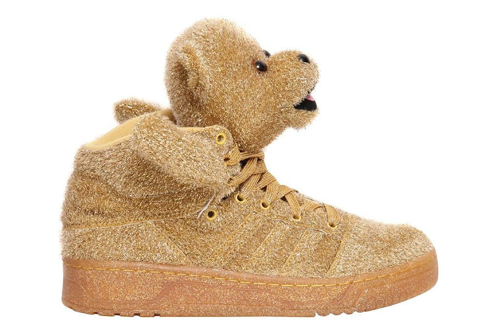 Details about Adidas JS Bear men's shoes with bear head gold glitter by Jeremy Scott NEW