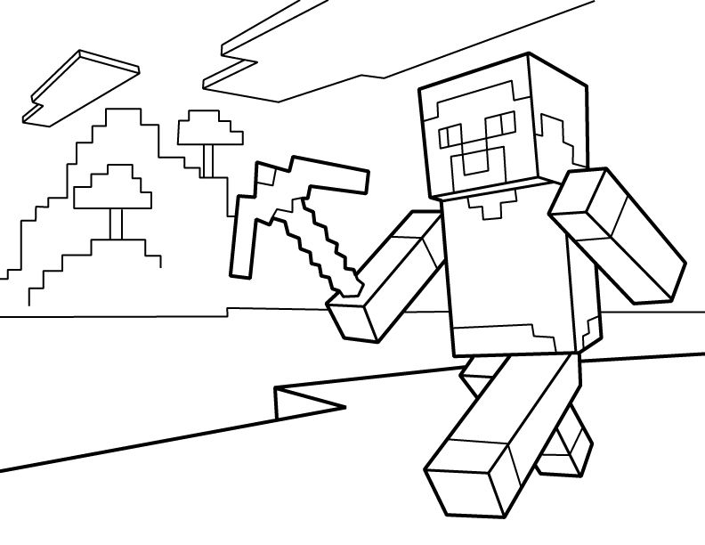 steve pdf printable coloring page minecraft