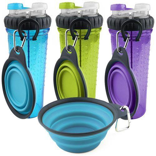 17 Oz Portable Travel Dog Water Bottle: Travel Dog Water Dog Food Food Bowl Doggie Travel On The