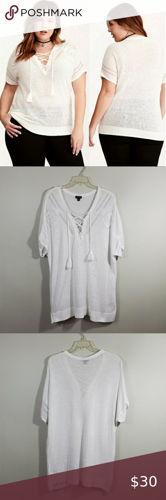 Torrid White Linen V Neck Lace Up Tassel Top 2X Excellent preowned condition / No flaws.  Size 2X / 18-20 (labeled 2). Linen blend open knit lace-up V-neck top. Tassel accent. Semi-sheer knit.   -Approximate measurements: 24.5