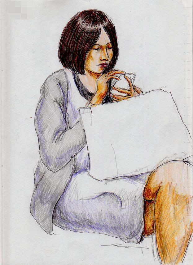 白いワンピースのお姉さん(通勤電車でスケッチ)A sketch of the lady who put on a white One Piece dress. It was drawn by commuter train.