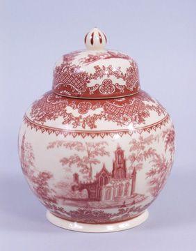 Red Toile Tea Jar  Merry Treasure Shopper