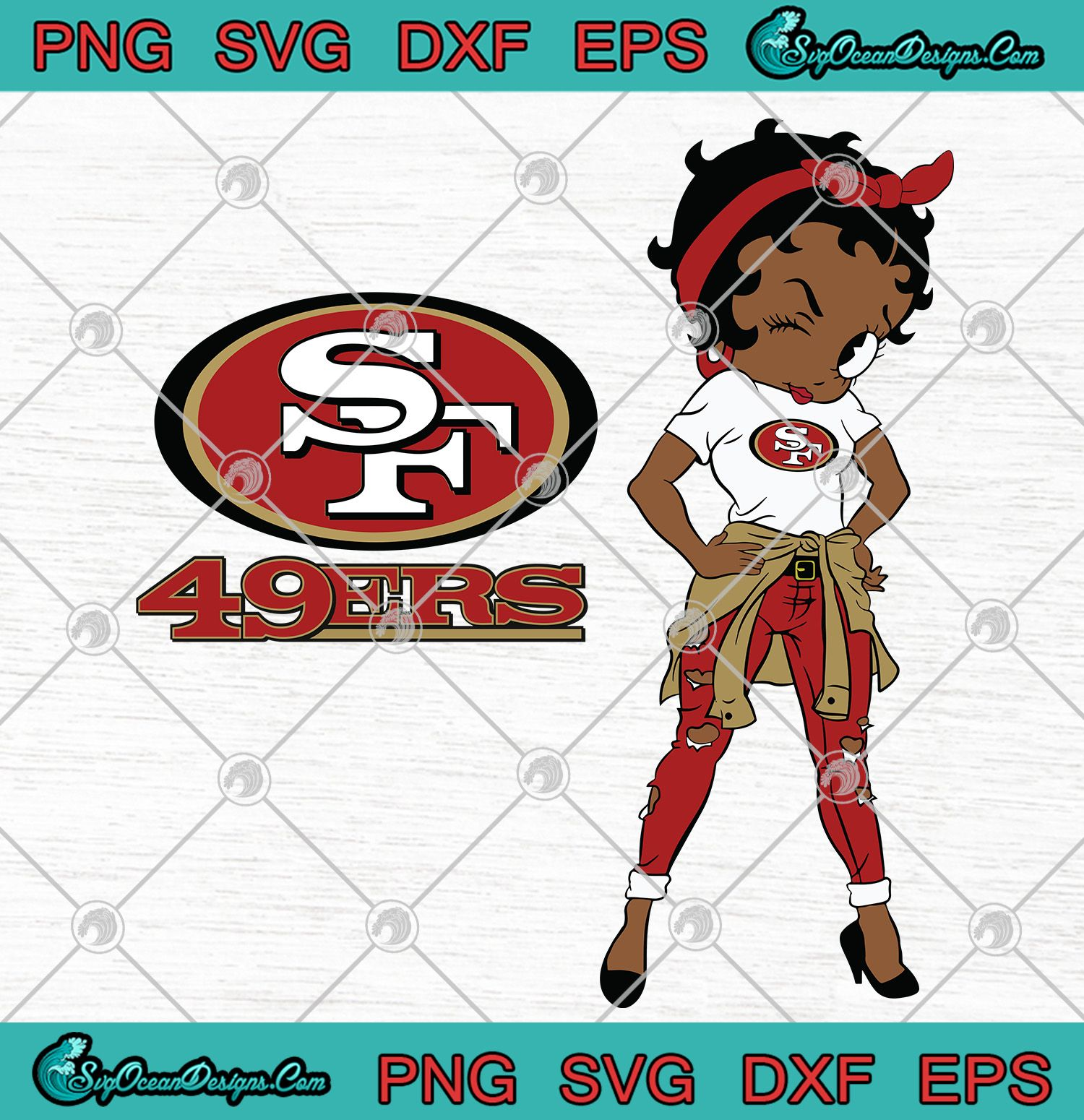 Betty Boop San Francisco 49ers Svg Png Eps Dxf San Francisco 49erss Svg Png In 2020 Betty Boop Cartoon Drawings San Francisco 49ers