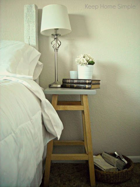 Good idea for small nightstands bar stools for the home keep home simple redecorating our masterbedroom on a small budget i love the bar stool as side tablesfinitely going to do this watchthetrailerfo